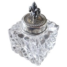 Petite Crystal Inkwell Sterling Fleur de Lis Finial Top Signed