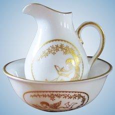 Miniature Spode Porcelain Wash Basin Pitcher for Dollhouse Angels