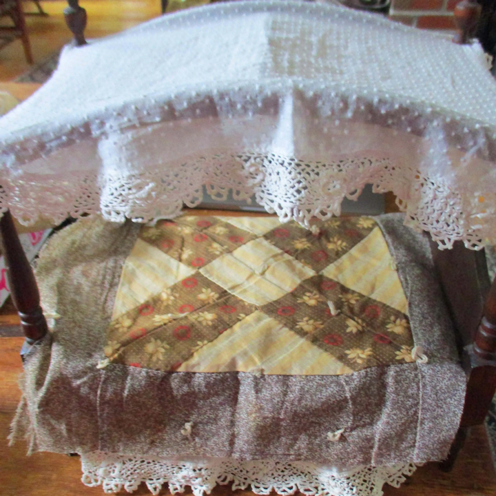 Antique 19c Quilt Block For Doll Bed 5 Roses