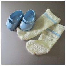 "Vintage Silky Factory Socks & Fairyland Blue Mary Janes 2.25"" Long"