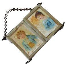 Dollhouse Miniature Triptych Mirror With Chromolithographs Victorian Boy & Girl