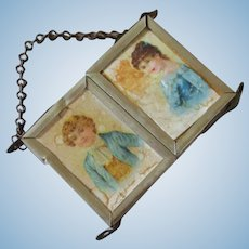 Dollhouse Miniature Triptych Mirror With Chromolithographs Victorian Boy & Girl