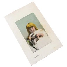 "Edwardian Post Card Hand Colored Photograph ""Dolly and I"""