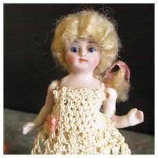 """4"""" Mignonette Pocket Doll Exquisite Face Lovely Long Mohair Wig"""