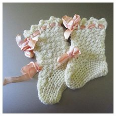 Doll Sized Tall Knit Booties With Lovely Original Pink Ribbons For German Doll