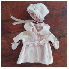 Well Loved Small Baby Doll Factory Coat Bonnet Mitts On String