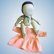 Oil Cloth Amish Doll Original Dress Muslin Bonnet