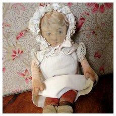 Lithographed Doll Beautiful Antique Bonnet Dress