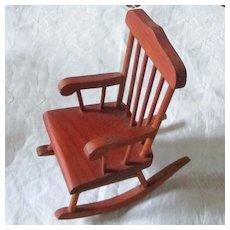 """1950's KImport Handmade Wood Rocker For 8"""" Doll"""