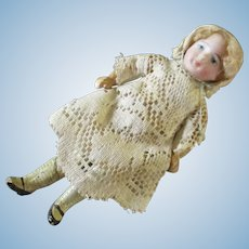 """German Antique Bisque Wood Doll For Dollhouse 5"""""""