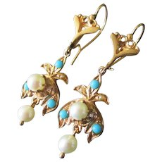 Stunning Victorian 14K Pearl Turquoise Earrings Marked