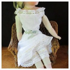 Darling Lawn Lace Eyelet Dress Bloomers Combo Wit Ribbons