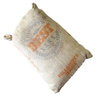 Miniature Antique Muslin Pillsbury CAR Co. Flour Bag For Dollhouse