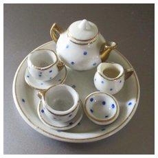 Darling Blue Polka Dot Tea Set Dollhouse