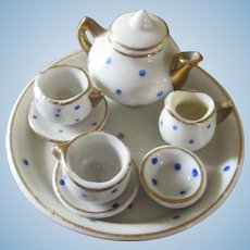 Darling Blue Polka Dot Tea Set Dollhouse