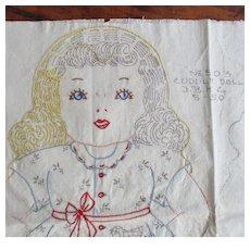 "1930's ""Cuddle Doll"" Embroidery Pattern JBK Co."