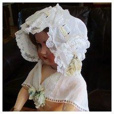 Antique Ruffled Lace Evening Bonnet & Cape-let  Original Ribbons