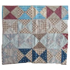 Beautiful Quilt Top For Doll Bed Ring & Roses Print