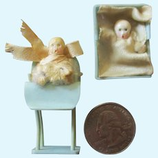 2 Tiny Celluloid Dolls In Layette for Miniature Dollhouse