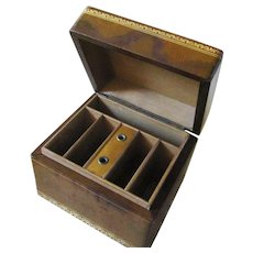 Old Compartmented Leather Embossed Large Box For Writing Accessories
