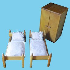 Strombecker Twin Beds Armoire Painted Trunk For Ginny Original Bedding RARE