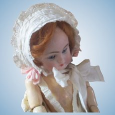 Sweet Antique Lace Bonnet Original Ribbons Stand Up Brim For Small Doll