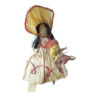 Wonderful Corn Husk Doll With Baby Doll Marked Rose Ann McCoy