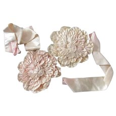 Edwardian/Art Deco  Set Of  Ribbon Flowers Streamers  Doll Clothes & Bonnets