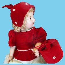1950's Velvet Bonnet & Purse For Large Doll