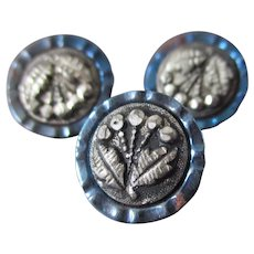 Victorian Steel Floral Iridescent Buttons