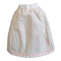 Cream & Pink Striped Flannel Skirt/ Petticoat Feather Stitching