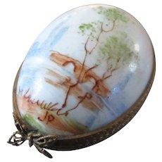 Limoges Porcelain Egg With Seine & Bridge Scene Signed JP