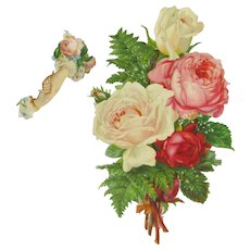Large Embossed Victorian Roses Scrap & Hands
