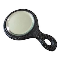 Old Leather Metal Bezeled Mirror For Doll's Vanity