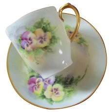 Sweet Hand Painted Pansy Limoges Demitasse Signed