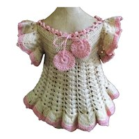 Beautiful Old Crocheted Dress Cream & Pink With Rosette Pom Poms
