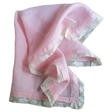 Pink Linen & Elephant & Pagoda Lace Vanity Scarf