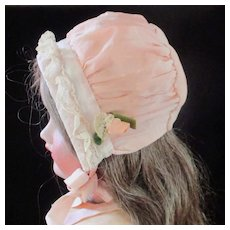 Pink Crepe Doll Bonnet With Rose Bud
