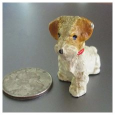 Hubley Miniature Fox Terrier Dog For Dollhouse Great Color