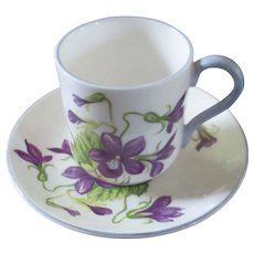 "Miniature Shelley ""Violets"" Demi Tasse Cup & Saucer"
