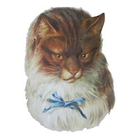 "Large Scrap Die Cut Victorian 8"" Cat Blue Bow"