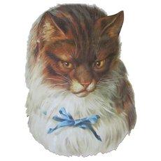 "Large Scrap Die Cut Victorian 8"" Cat Blue Bow"