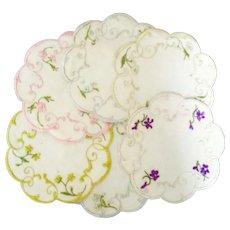 6 Society Silk Linen Small Doilies Various Flowers