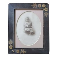 Old Frame Dried Flowers Baby With Doll