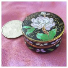 Cloisonné Small Box Peony & Clouds