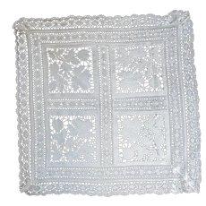 Exquisite Antique Italian Reticella Lace Cut Linen Square Table Cover Or Shawl