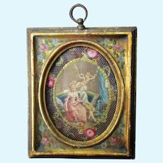 Lithograph Couple With Cherub In Painted Frame For Dollhouse