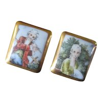 Set Porcelain Buttons Romance Era Lady & Gentleman