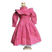 Beautiful Antique Ruffled Doll  Dress With Petticoat