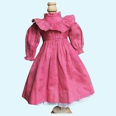 Beautiful Antique Ruffled Doll  Dress With Petticoat